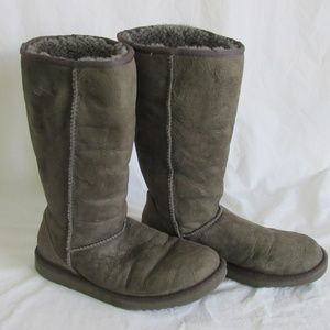 Ugg Gray Classic Tall Shearling Boots 8